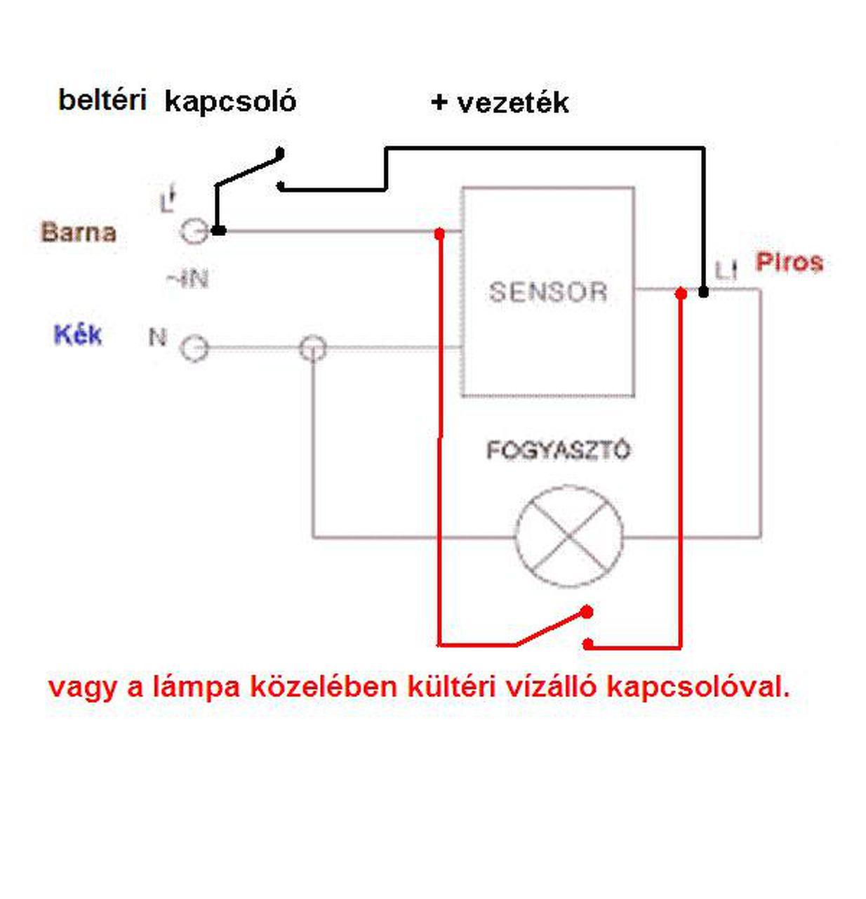 mozgásérzékelő lámpa kapcsolási rajz